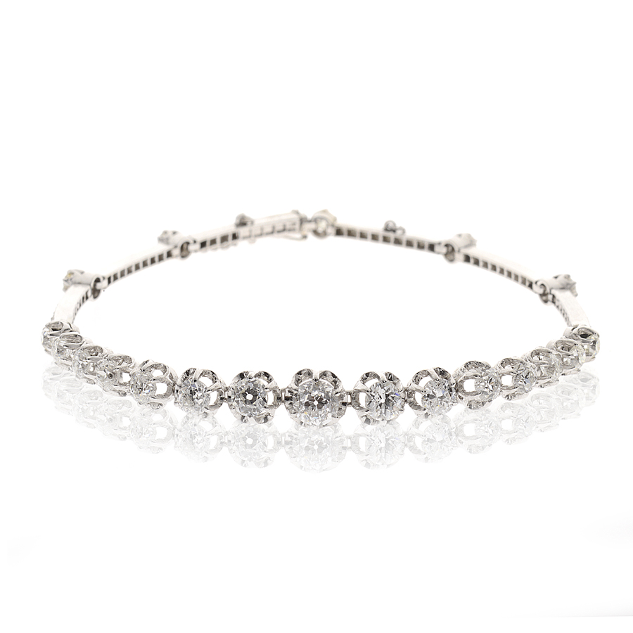 Bracelet or gris et diamant